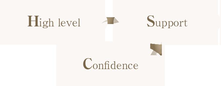 High level ハイレベル → Support サポート → Confidence 信頼
